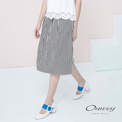 OUWEY歐薇-優雅直條抽摺中長裙-黑