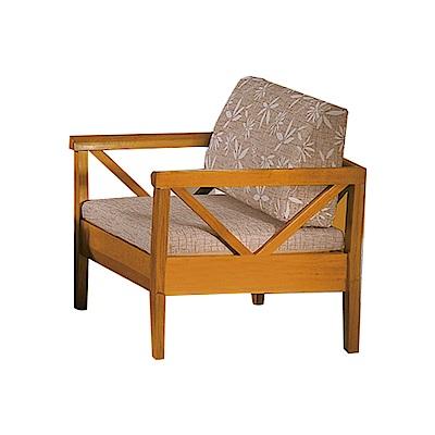 品家居 維斯其亞麻布實木沙發單人座-91x76x85cm-免組