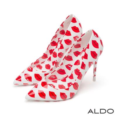 ALDO-亮面普普風性感紅唇尖頭細高跟鞋-性感紅唇