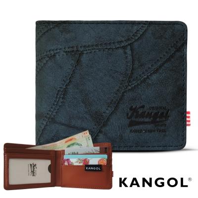 KANGOL 韓式潮流 多夾層橫式短皮夾+鑰匙圈禮盒-牛仔藍
