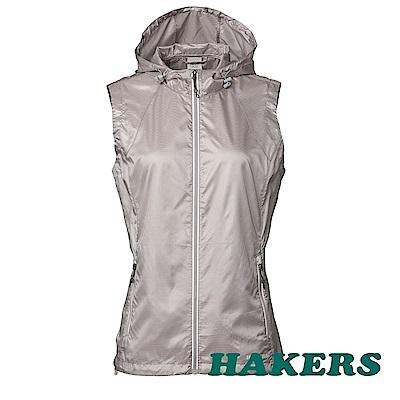 【HAKERS】女-超輕量防風防潑背心-銀河灰