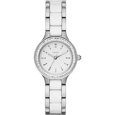 DKNY Ceramic 優雅晶鑽陶瓷 女錶~白 30mm