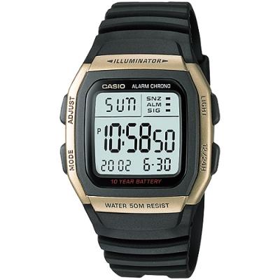 CASIO城市個性休閒電子錶(W-96H-9A)-金框/38mm