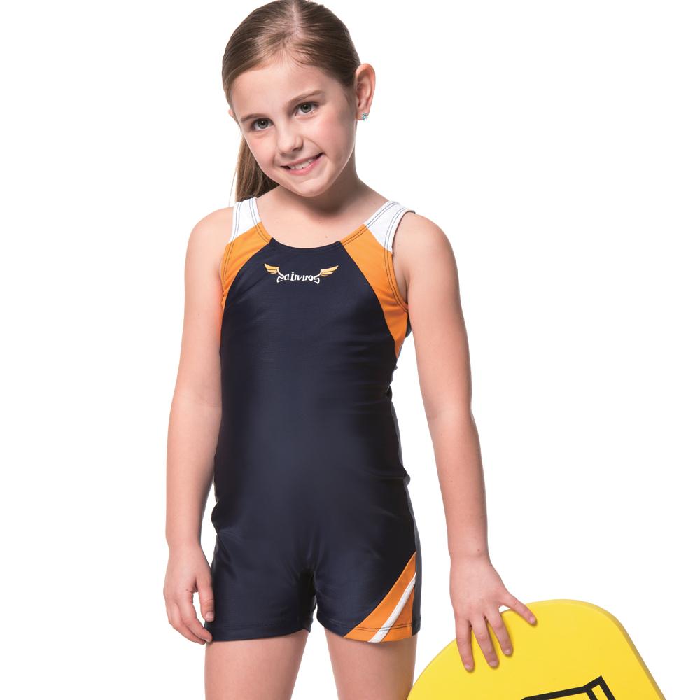 聖手牌 兒童泳裝 黃白配飾連身式女童泳裝