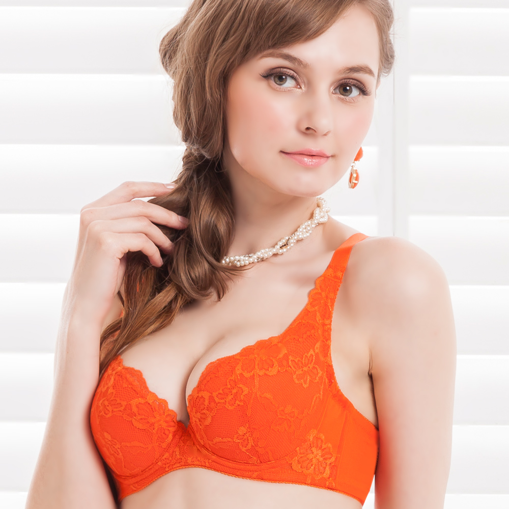 思薇爾 熱戀夏威夷系列B-F罩蕾絲內衣(加州橘)