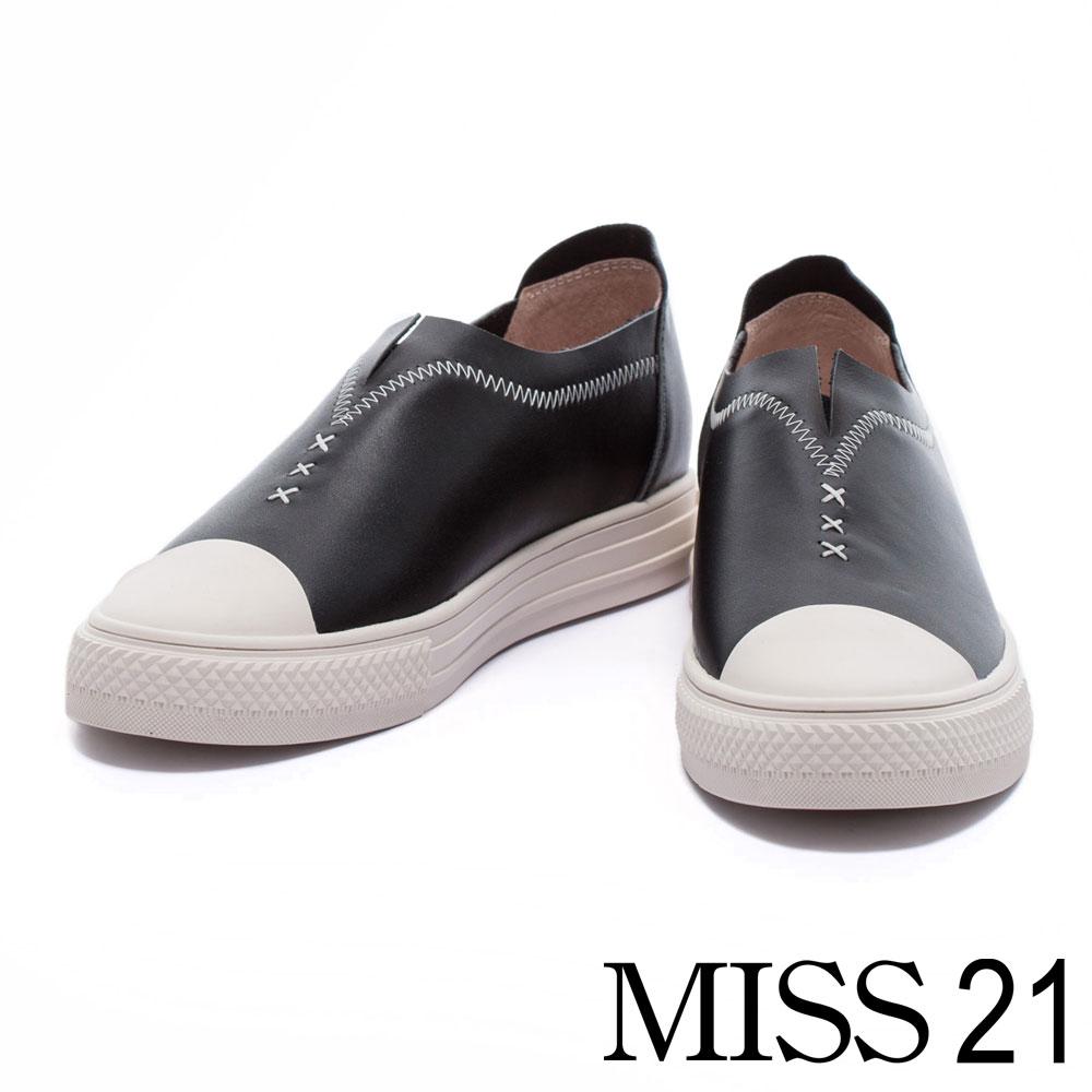 休閒鞋 MISS 21 鋸齒車線造型全真皮厚底休閒鞋-黑
