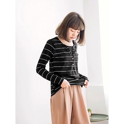 台灣製造開襟排釦假兩件橫條紋長袖上衣
