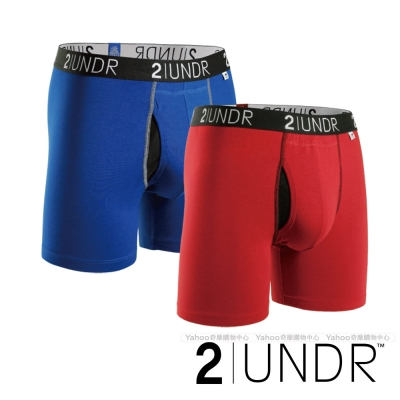 2UNDR Swing Shift 莫代爾吸排四角內褲(6吋)- 藍紅 二入組