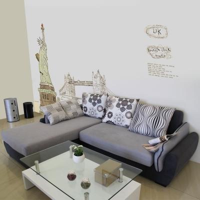 居家生活 佐丹L型灰色沙發組-右L