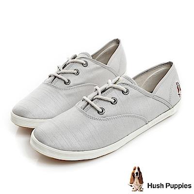 Hush Puppies 典雅緞面咖啡紗帆布鞋-淺灰