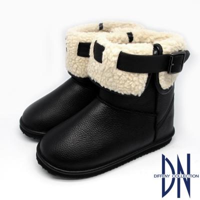 DN 暖冬甜心 反摺毛拼接皮帶釦環雪靴 黑