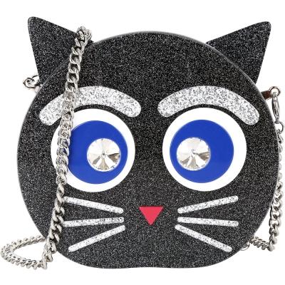KARL LAGERFELD CHOUPETTE 鑽眼貓造型硬殼鍊帶晚宴包(黑色)
