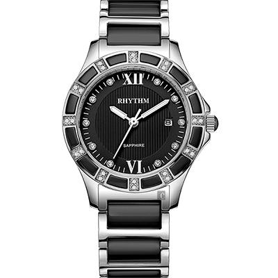 RHYTHM日本麗聲 陶瓷晶鑽淑女錶-黑x銀/32mm F1202T02