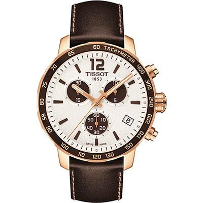TISSOT QUICKSTER CLASSIC 計時運動腕錶-白x玫瑰金框/42mm