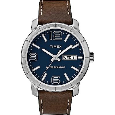 TIMEX 天美時 風格系列 經典潮流大數字手錶 藍x深咖啡色/44mm