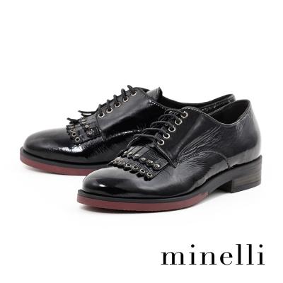 Minelli-漆皮流蘇繫帶平底鞋-學院黑