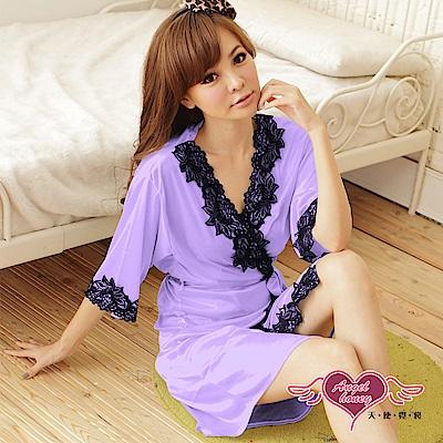 罩衫 迷人秋緻 柔軟冰絲性感連身睡衣(淺紫F) AngelHoney天使霓裳