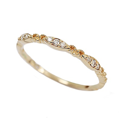 agete日本精品珠寶 水滴優雅花邊鑲鑽K10金色戒指