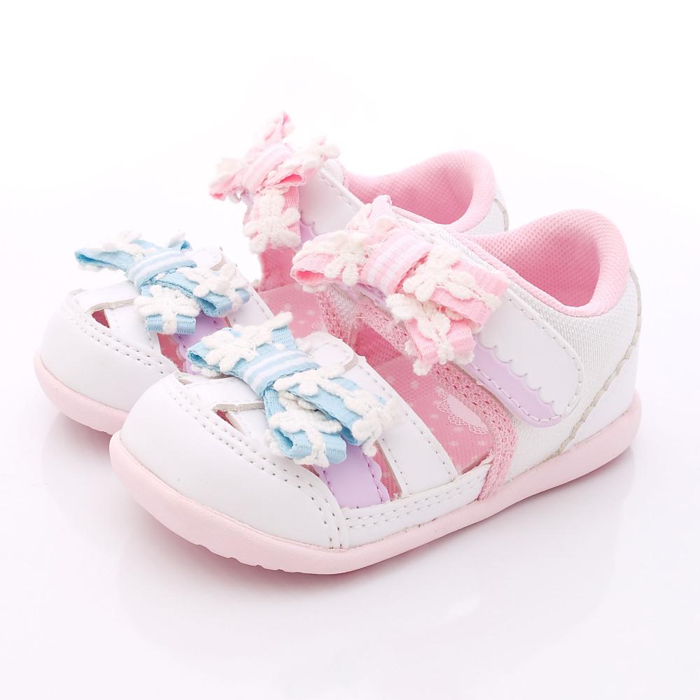 日本Carrot機能童鞋-緞帶護趾涼鞋款-B811白(寶寶段)HN