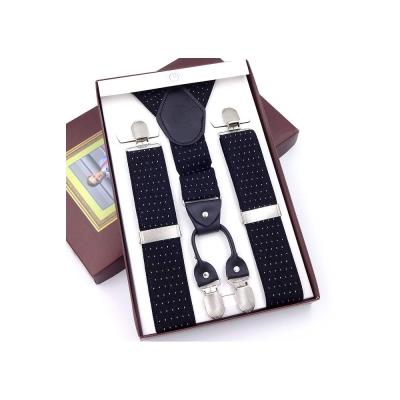 拉福   吊帶四夾紳士吊帶附紙盒(黑底白點)