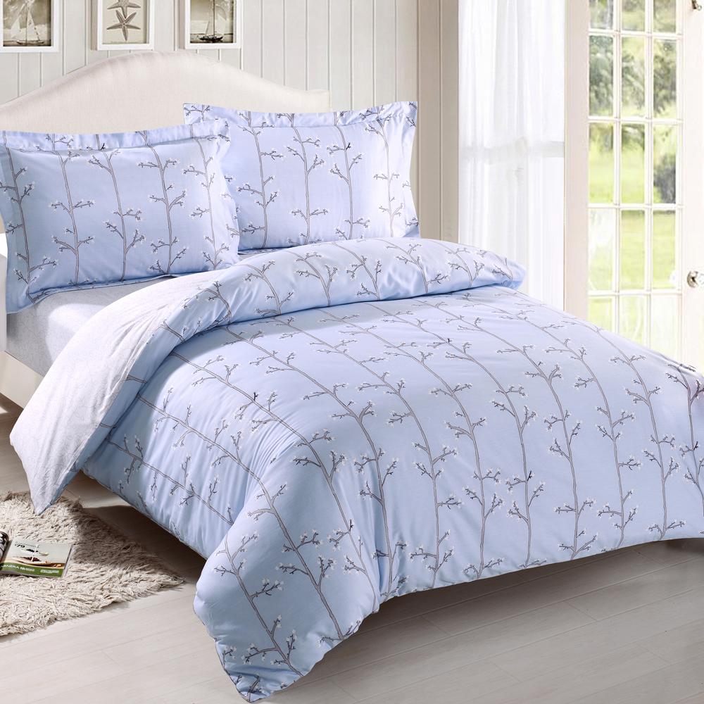 HOYACASA風之語 加大四件式抗菌精梳棉兩用被床包組