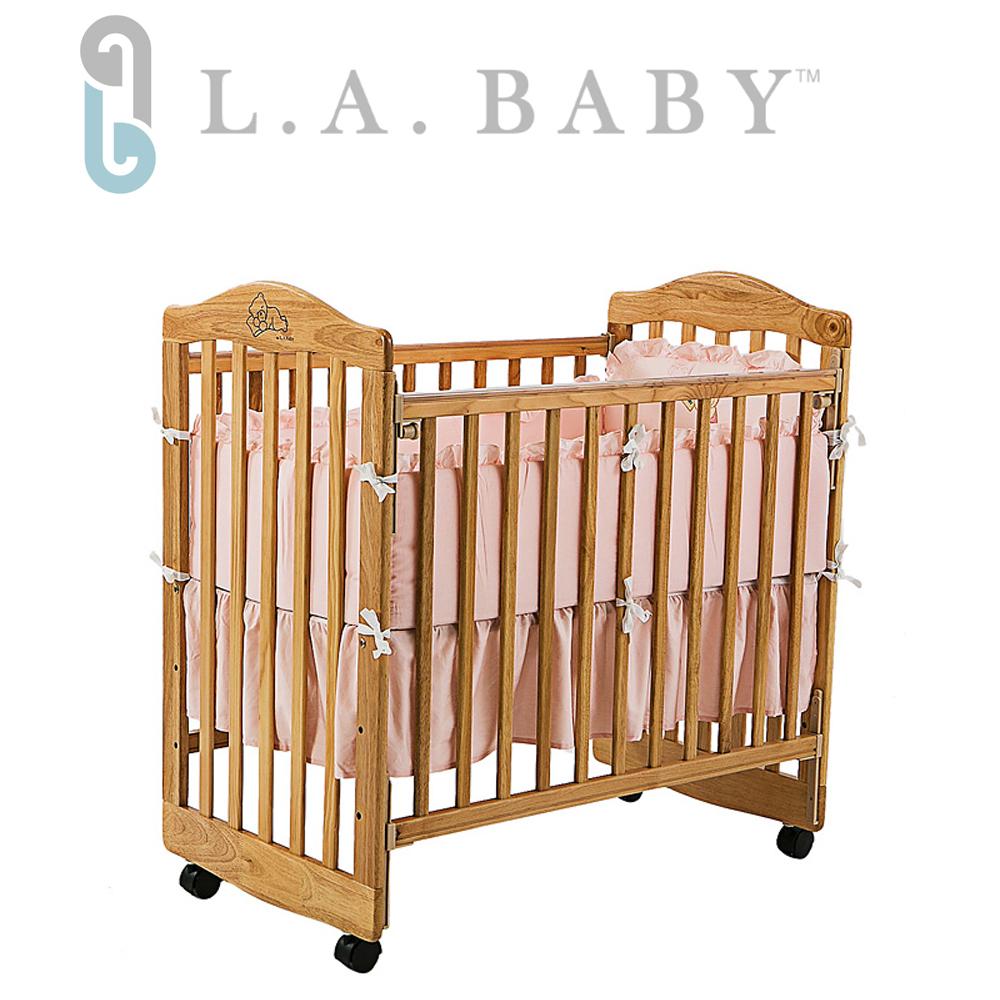 【美國 L.A. Baby】蒙特維爾美夢熊嬰兒床-超值優惠組合(嬰兒床+藍純棉五件式寢具組