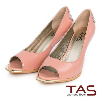 TAS-後跟水鑽金屬飾片魚口高跟鞋-粉嫩桔