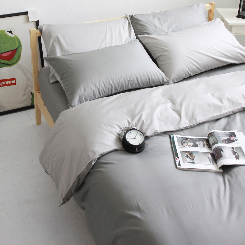 OLIVIA 鐵灰 銀灰  雙人床包被套四件組 素色無印