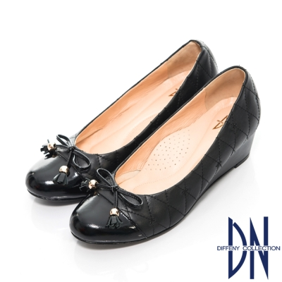 DN-名媛時尚-全真皮菱格紋楔型包鞋-黑