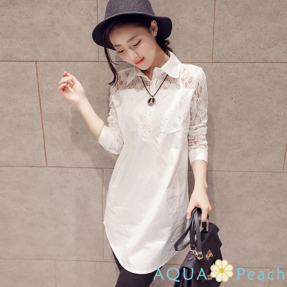 花型蕾絲拼接縷空袖襯衫 (白色)-AQUA Peach