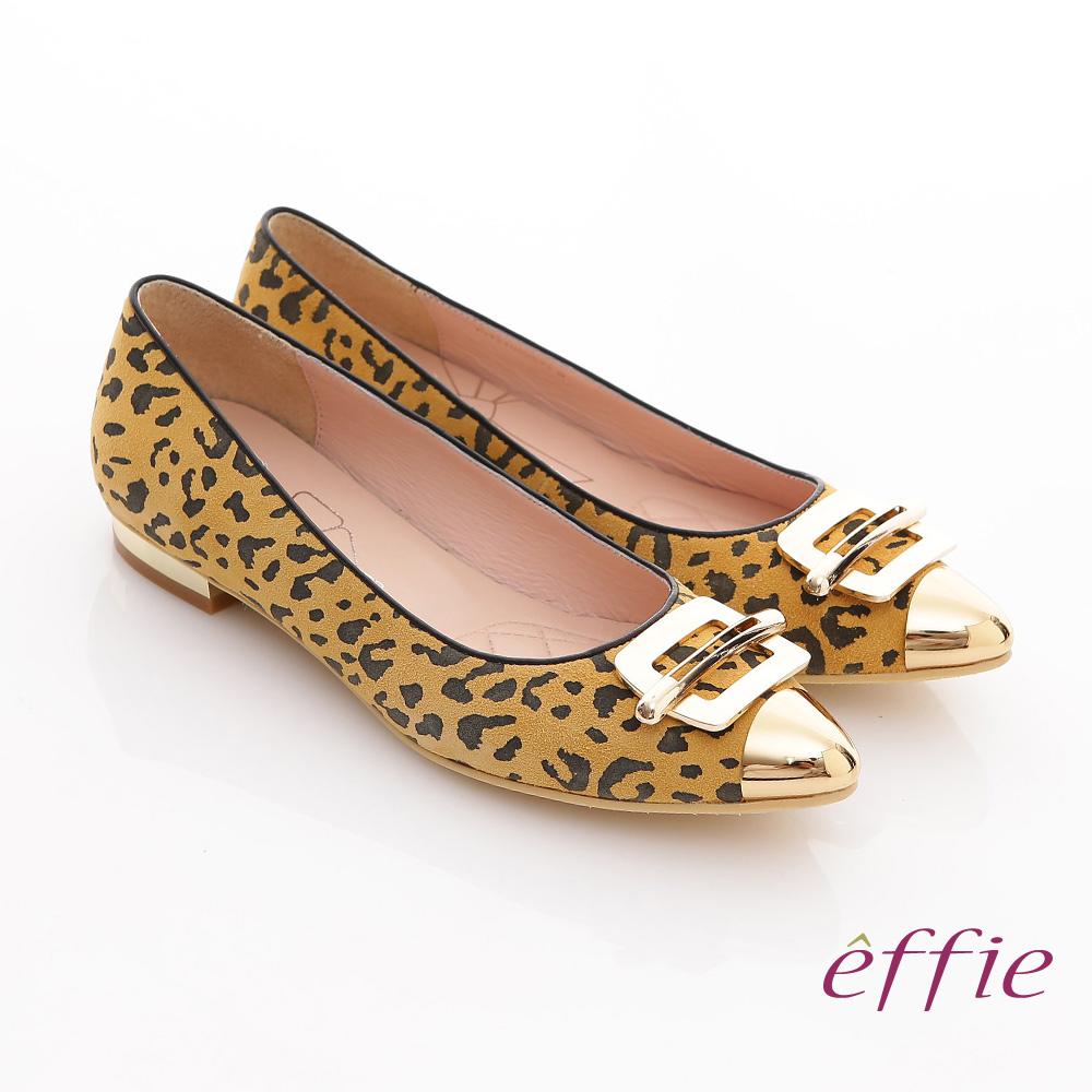 effie 軟芯系列 絨面真皮豹紋尖楦平底鞋 正黃
