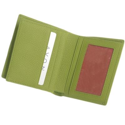 Majacase - 手工護眼綠客製9卡2鈔票層短夾-小牛皮