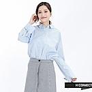 H:CONNECT 韓國品牌 女裝 - 領鏤空綁帶袖襯衫-淺藍