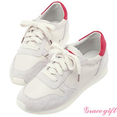 Grace gift-真皮拼接撞色綁帶休閒鞋 紅