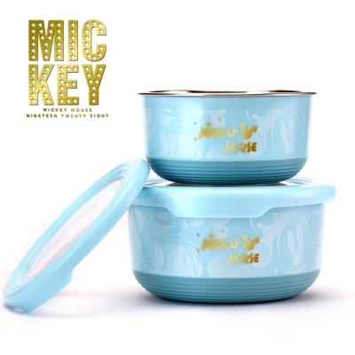 迪士尼Disney粉彩星雲304不鏽鋼雙層隔熱保鮮盒二件組(420ml+730ml)-藍