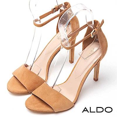ALDO 原色真皮一字金屬繫踝釦帶細高跟涼鞋~氣質棕色