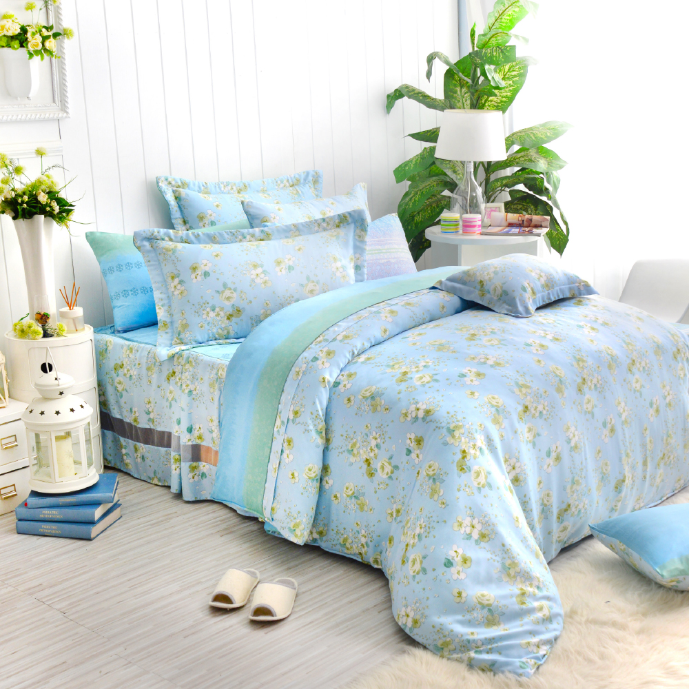 Saint Rose 清蓮幽花 雙人100%純天絲兩用被套床包四件組