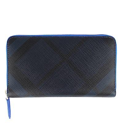 BURBERRY 黑藍色格紋防水材質皮飾邊拉鍊萬用長夾