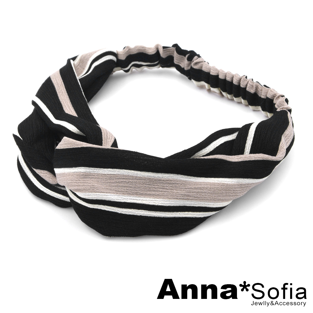 【2件7折】AnnaSofia 粗細條紋交叉結 彈性寬髮帶(黑+茶條紋)