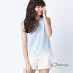OUWEY歐薇 輕甜蕾絲拼接條紋上衣(藍)-動態show