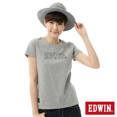 EDWIN-T恤-3M反光LOGOT恤-女-麻灰