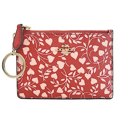 COACH 專櫃款愛心樹葉PVC鑰匙零錢夾(紅)