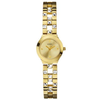 GUESS 晶采女伶時尚晶鑽腕錶-金/22mm