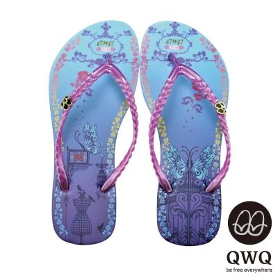 QWQ夾拖的創意(女) - 藝術塗鴨 我的祕密花園夾腳拖鞋 - 神秘紫