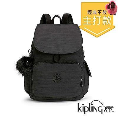 Kipling 後背包 質感條紋黑-中