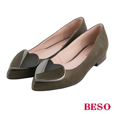 BESO都會甜心 愛心飾釦全真皮平底鞋~綠