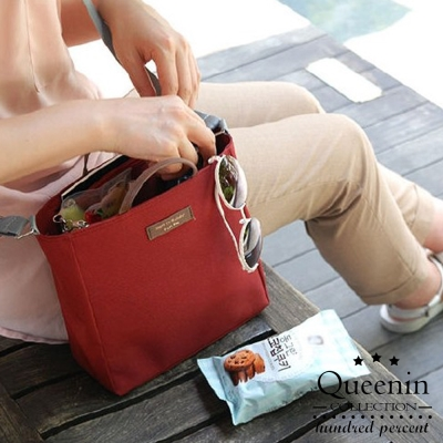 DF Queenin流行 - 韓版包中包手提斜背收納袋-酒紅
