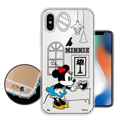 迪士尼授權正版 iPhone X 簡約線條 空壓安全手機殼(米妮)