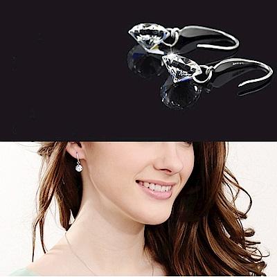 梨花HaNA 韓國925銀垂綴時分美好單鑽勾式耳環