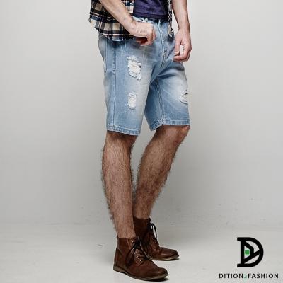 DITION-多工水洗破壞DENIM牛仔短褲-貓爪